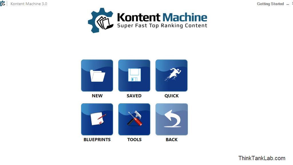 Kontent Machine Welcome Screen